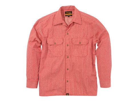 NHB1503 ワークシャツ ヒッコリーレッド