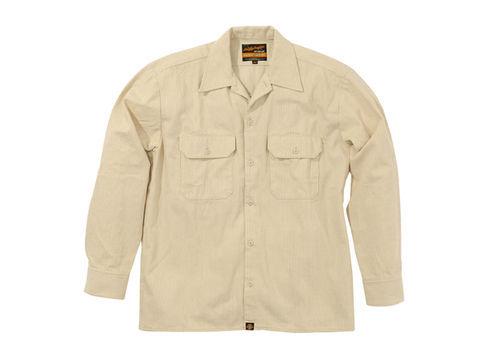 NHB1503 ワークシャツ ヒッコリーベージュ