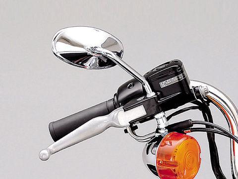 ショートステムミラー スリムライン HD用 右側 クロームメッキ