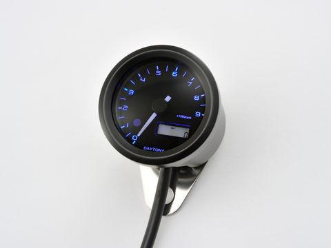 VELONA 電気式タコメーター Φ48(パルスジェネレーター無し) 9000rpm ブラックボディ 3色LED