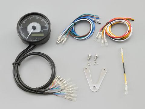 VELONA™ 電気式タコ&スピードメーターφ80  15000rpm ブラックボディ ホワイトLED