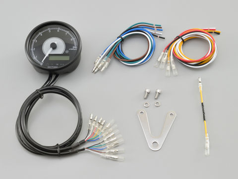 VELONA™ 電気式タコ&スピードメーターφ80  9000rpm ブラックボディ ホワイトLED