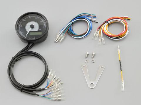 VELONA™ 電気式スピード&タコメーターφ80  140km/h ブラックボディ ホワイトLED