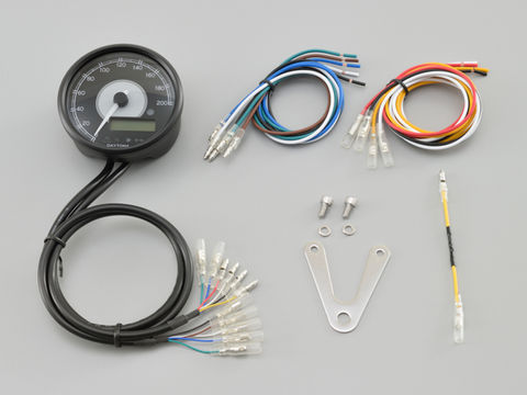VELONA™ 電気式スピード&タコメーターφ80  200km/h ブラックボディ ホワイトLED