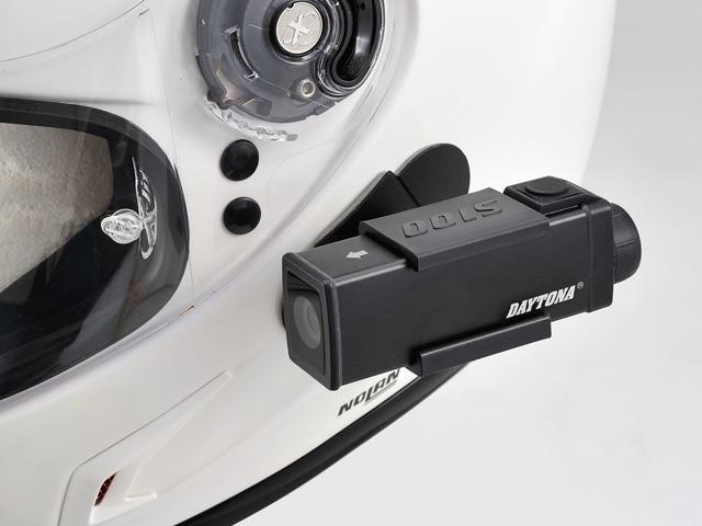 ヘルメット装着時は内蔵バッテリー使用コンパクトサイズで邪魔にならない